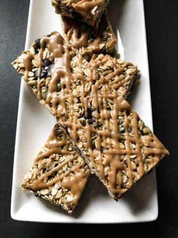 chewy granola bars close up