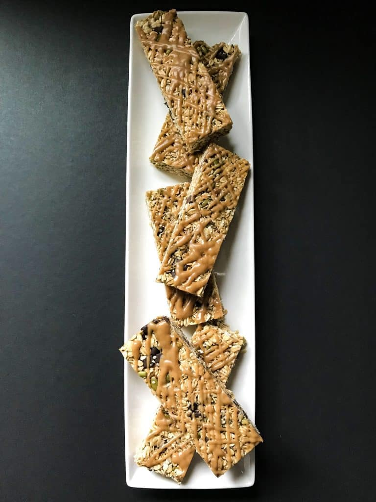 Chewy granola bars top view
