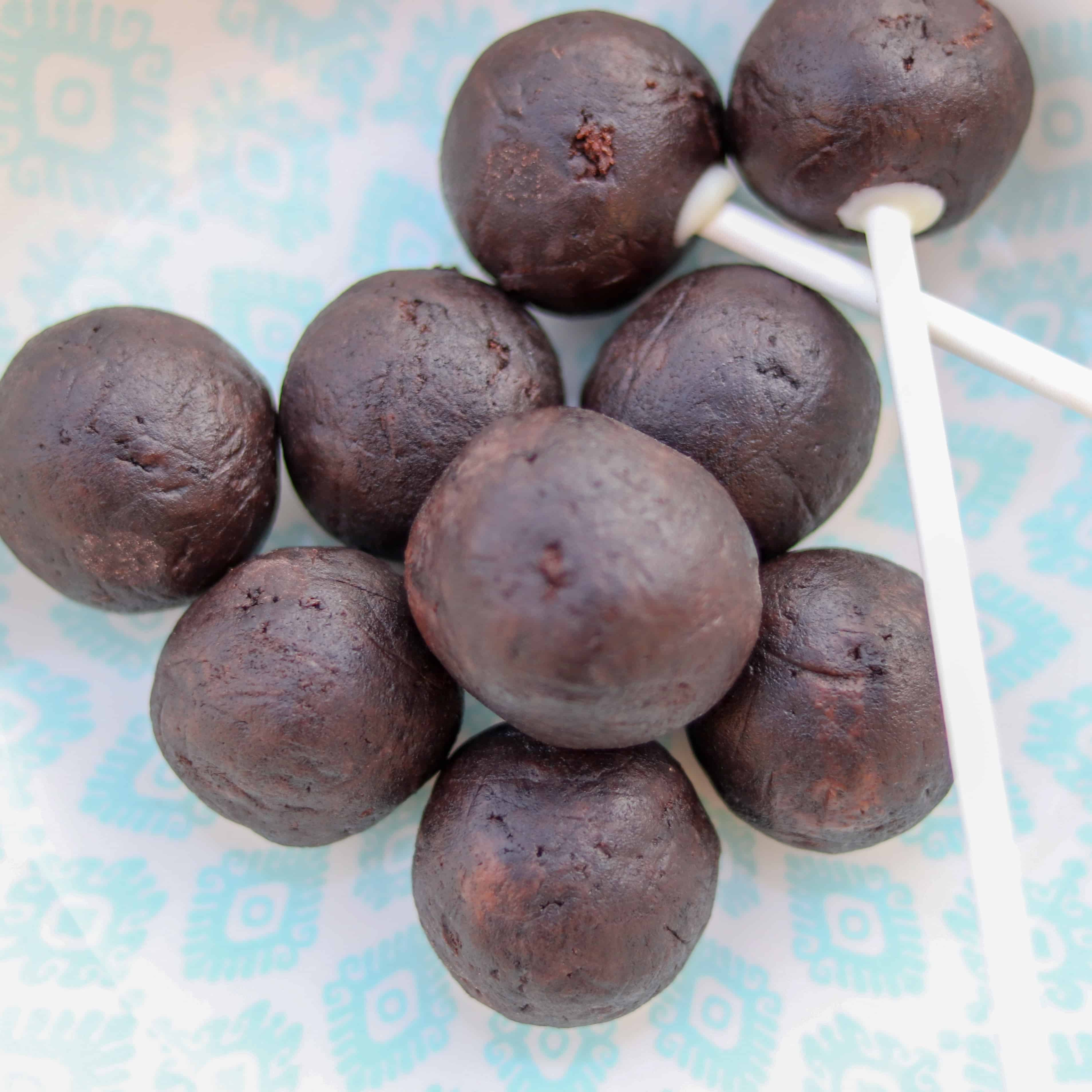 cake pops, before being coated in chocolate