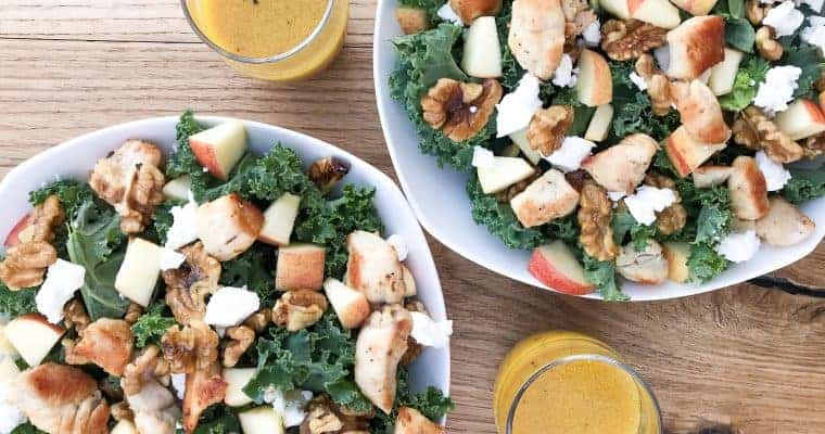 Kale Apple Salad with Honey Mustard Vinaigrette