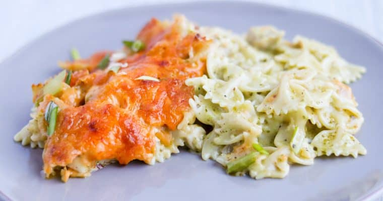 Basil Pesto and Chicken Baked Pasta