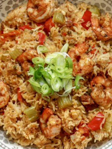 jambalaya in a blue bowl garnished with finely sliced green onions