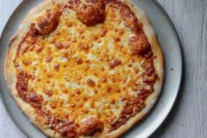 cheese pizza baked on pizza crust (birds eye view)