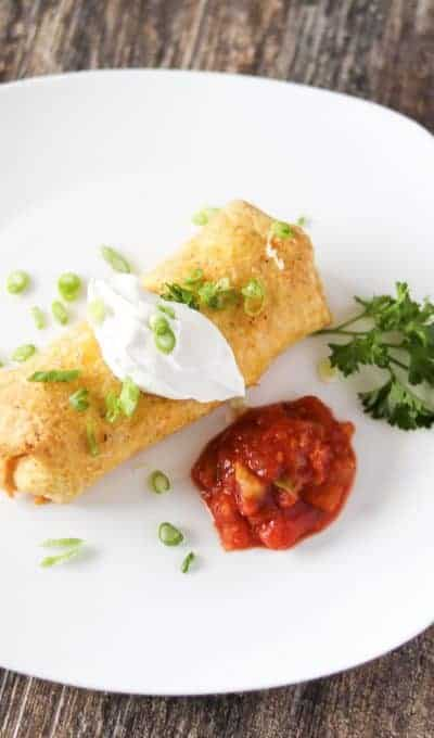 Baked Chicken and Cheese Chimichangas