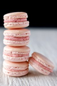 Stack of strawberry French Macarons