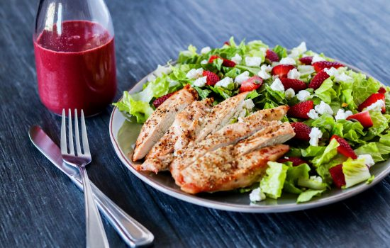 Strawberry Goat Cheese Chicken Salad with Berry Vinaigrette