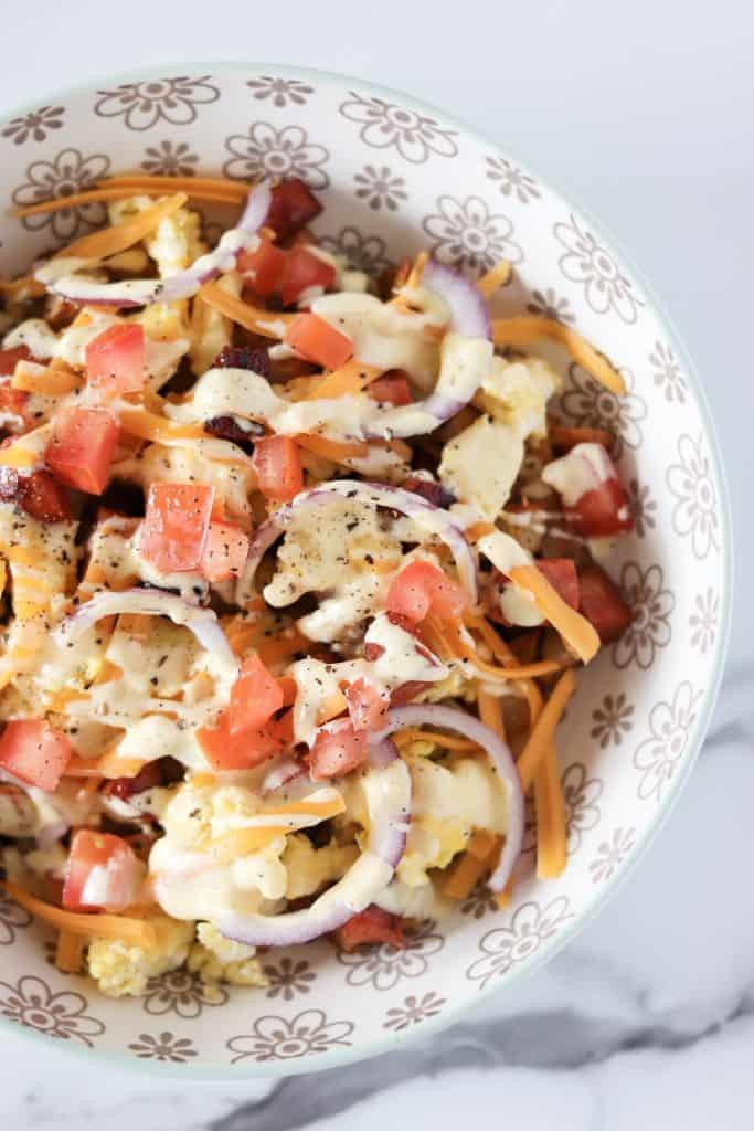 close up of the chorizo brekkie bowl