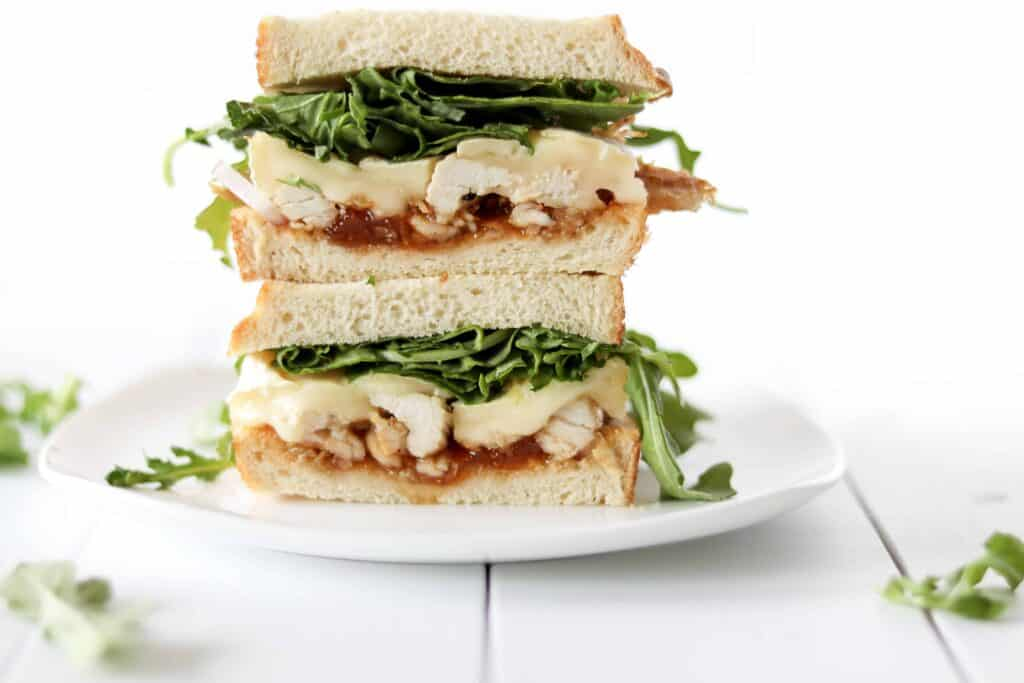Aprict brie chicken sandwich stacked