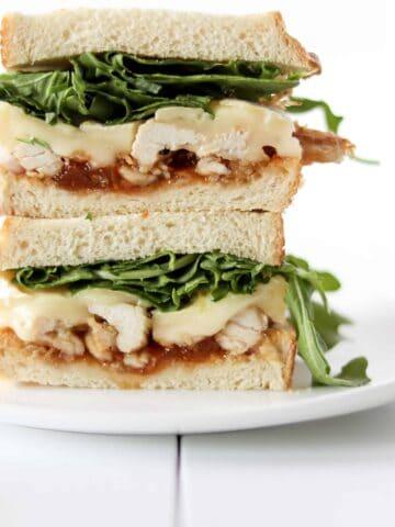 Aprict brie chicken sandwich stacked