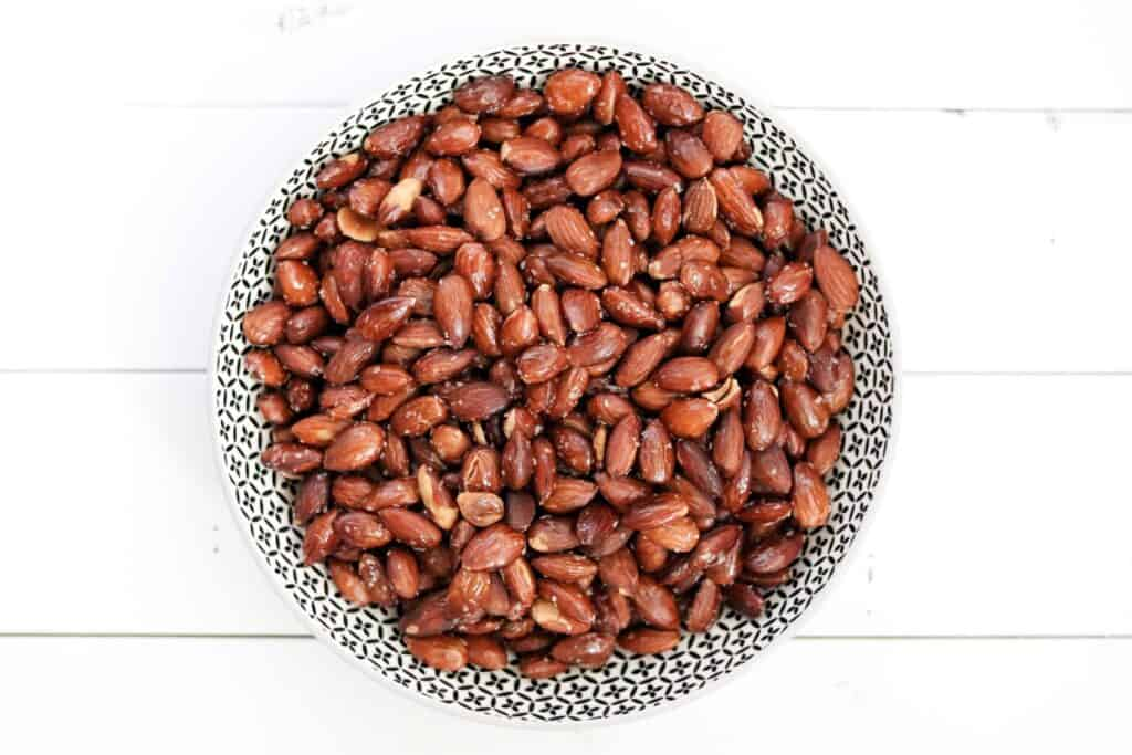 a bowl of roasted almonds