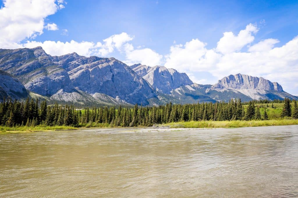 picture of the bow river and mountains from our campsite