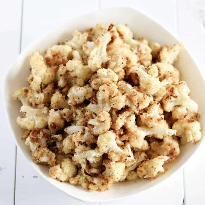 Bowl of oven roasted cauliflower