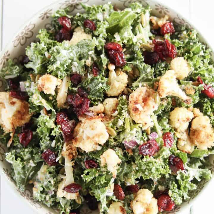 finished bowl of kale cauliflower caesar salad