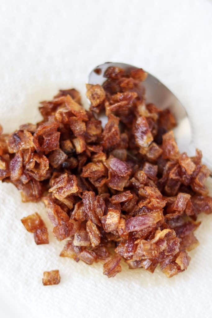 caramelized onions draining on a napkin
