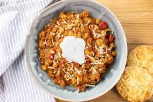 lentil turkey chili with all the toppings and cheddar tarragon buttermilk biscuits on the side