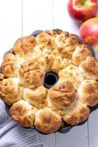 monkey bread after it has been baked, waiting to be flipped out onto a serving tray