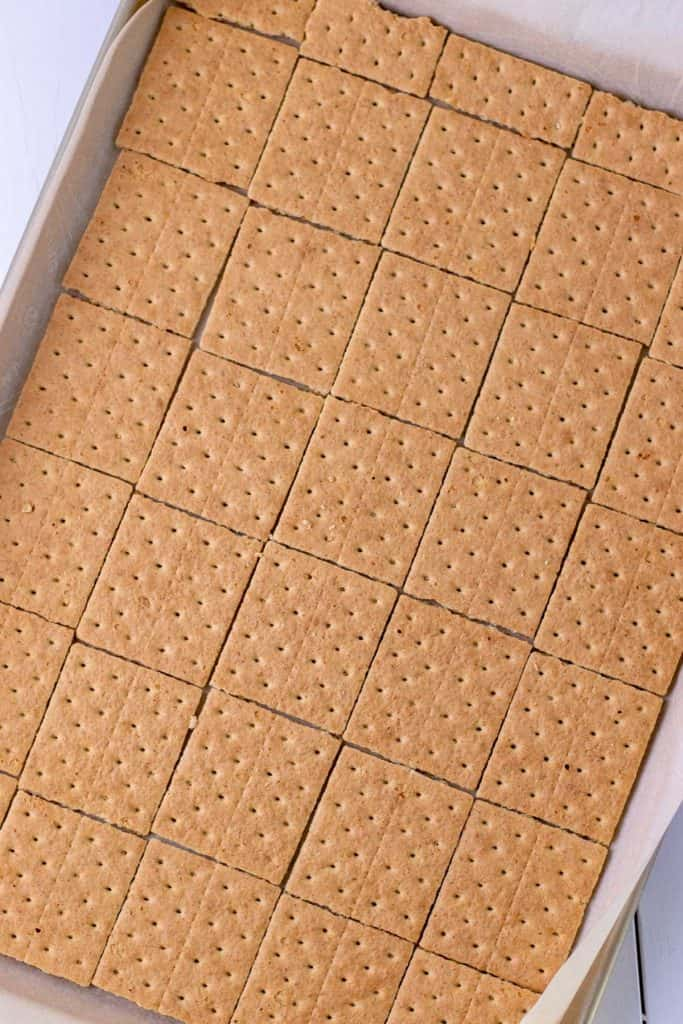 graham cracker laid out on a baking sheet