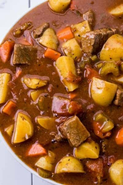 a large bowl of guinness beef stew