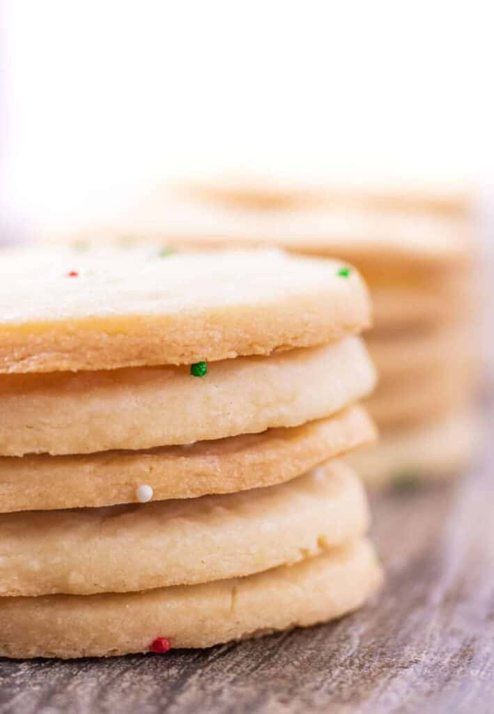 shortbread cookies stacked in a lineup