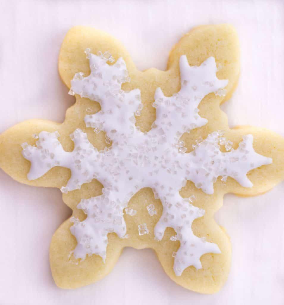 a snowflake sugar cookie