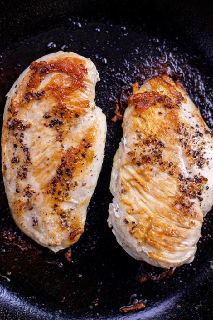chicken breast, fully cooked with a golden brown crust
