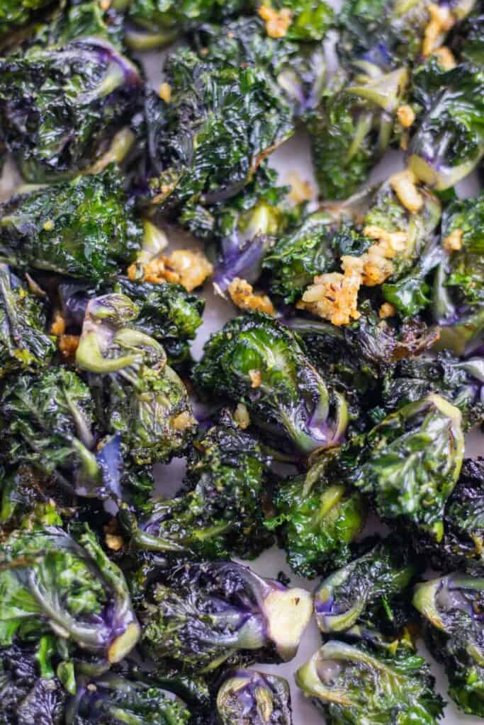 cooked crispy roasted kalettes