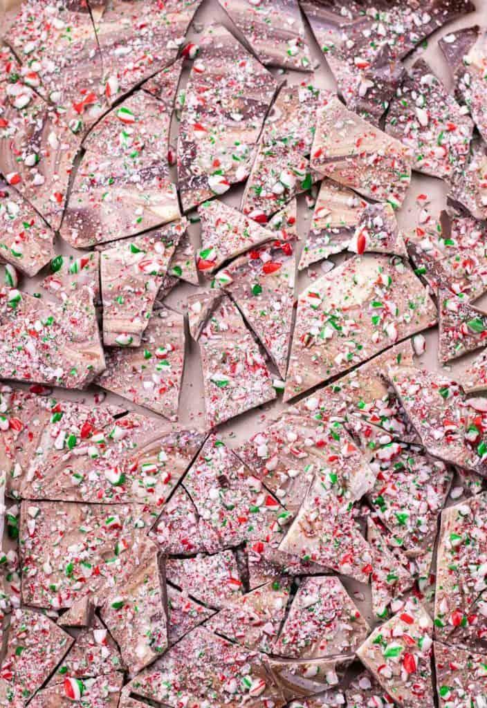 Peppermint candy cane bark broken up