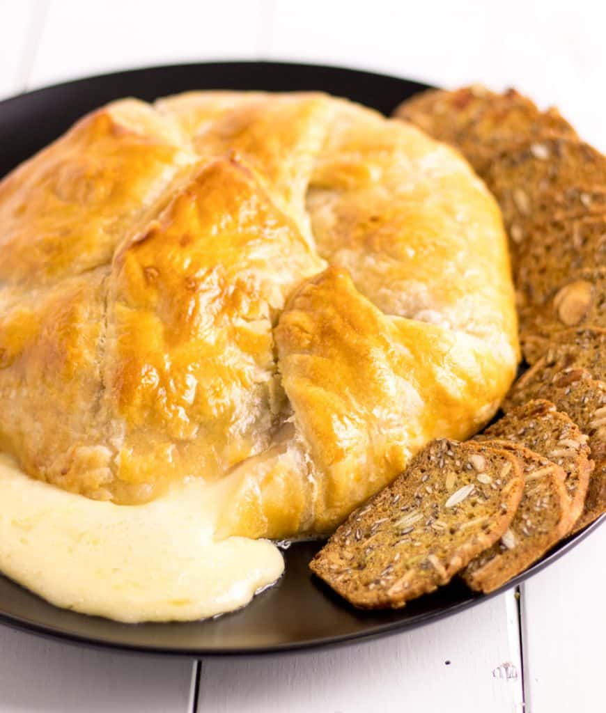 baked brie straight out of the oven