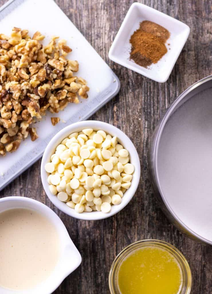 all of the ingredients to make white chocolate eggnog fudge laid out