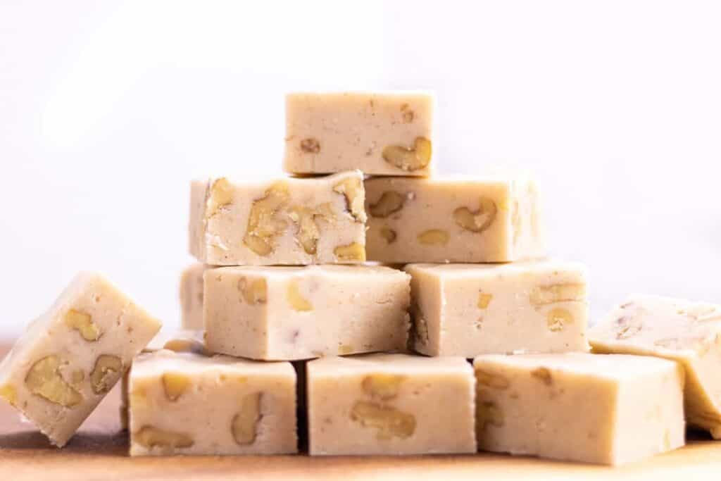 stack of white chocolate eggnog fudge squares