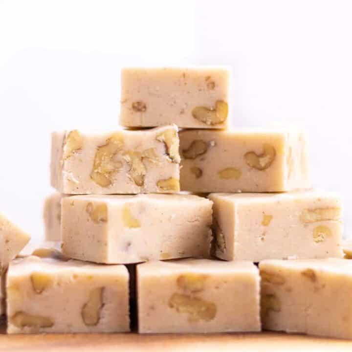 stack of white chocolate eggnog fudge squares