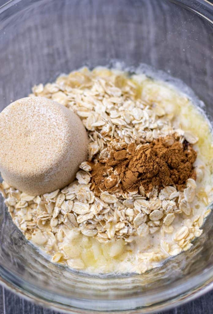 all of the ingredients for the oat crumble topping in a mixing bowl