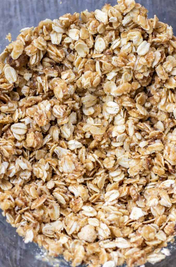 the oat crumble topping mixed up