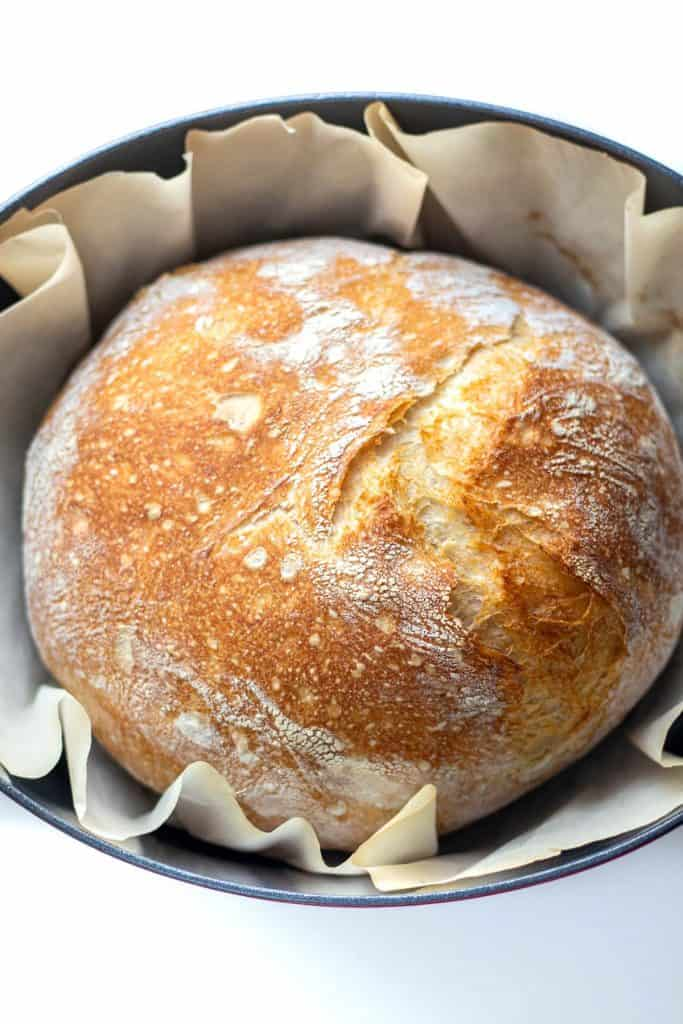 no knead bread straight out of the oven