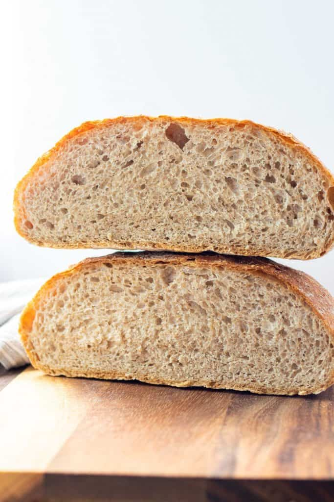 loaf of no knead whole wheat bread