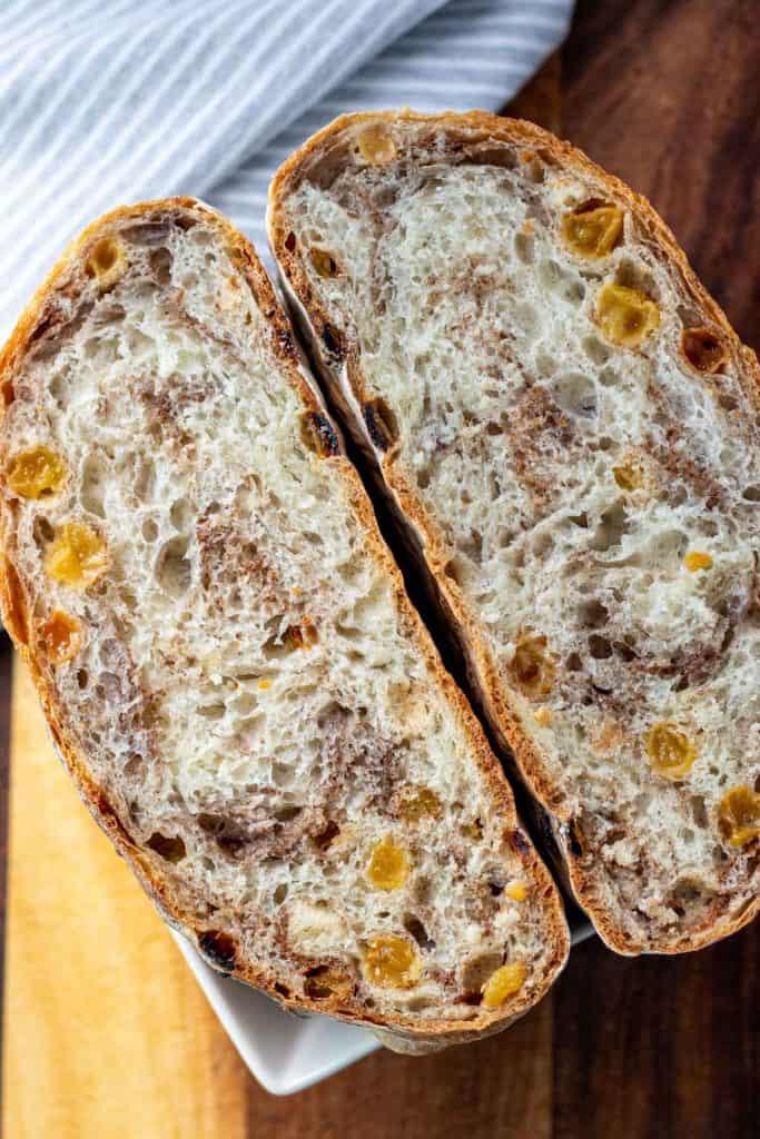 loaf of no knead cinnamon raisin bread