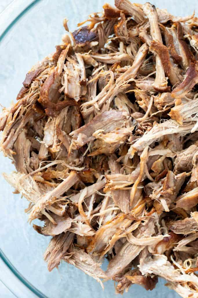 shredded pork in a large serving bowl