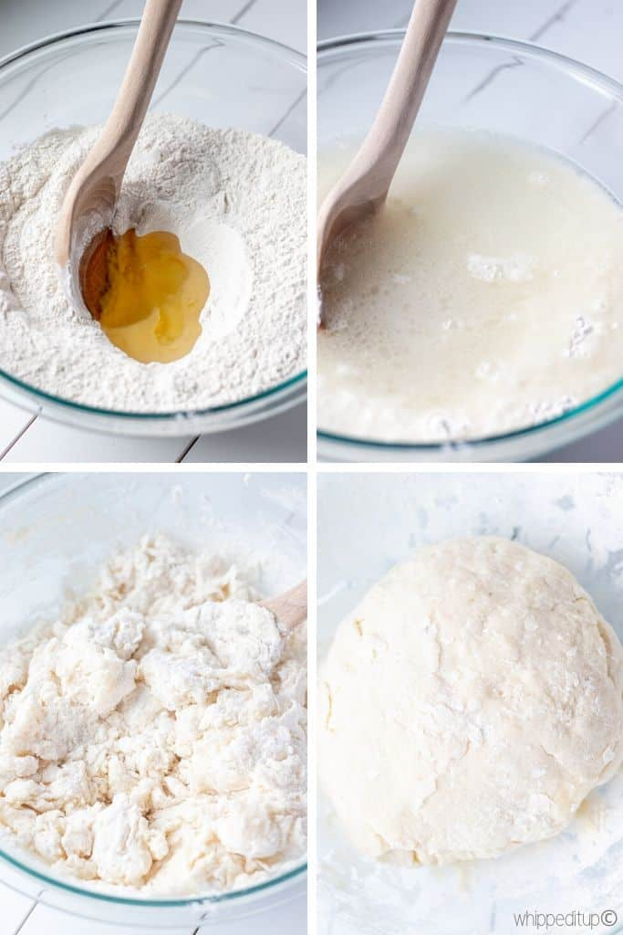 four photos; showing the dough being combined, stirred into a rough dough, and kneaded into a dough ball