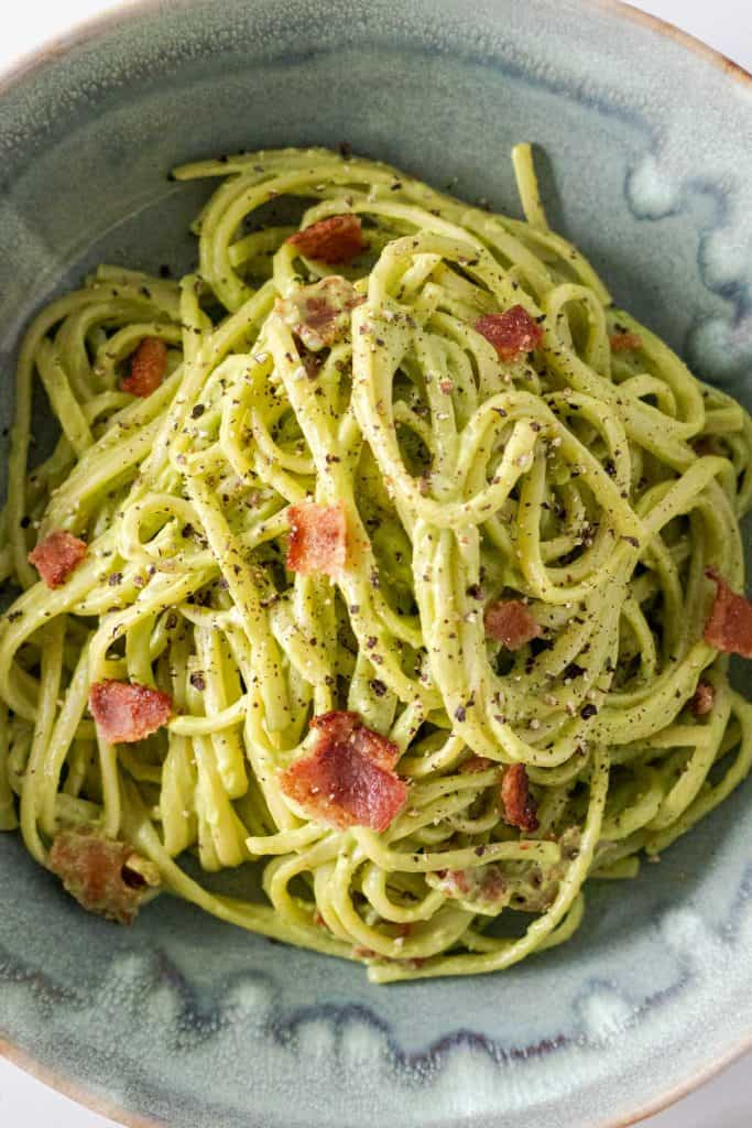Serving the avocado carbonara