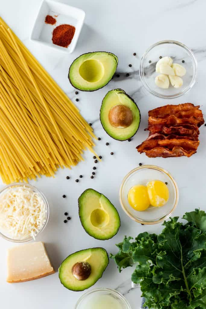 all of the ingredients to make avocado carbonara