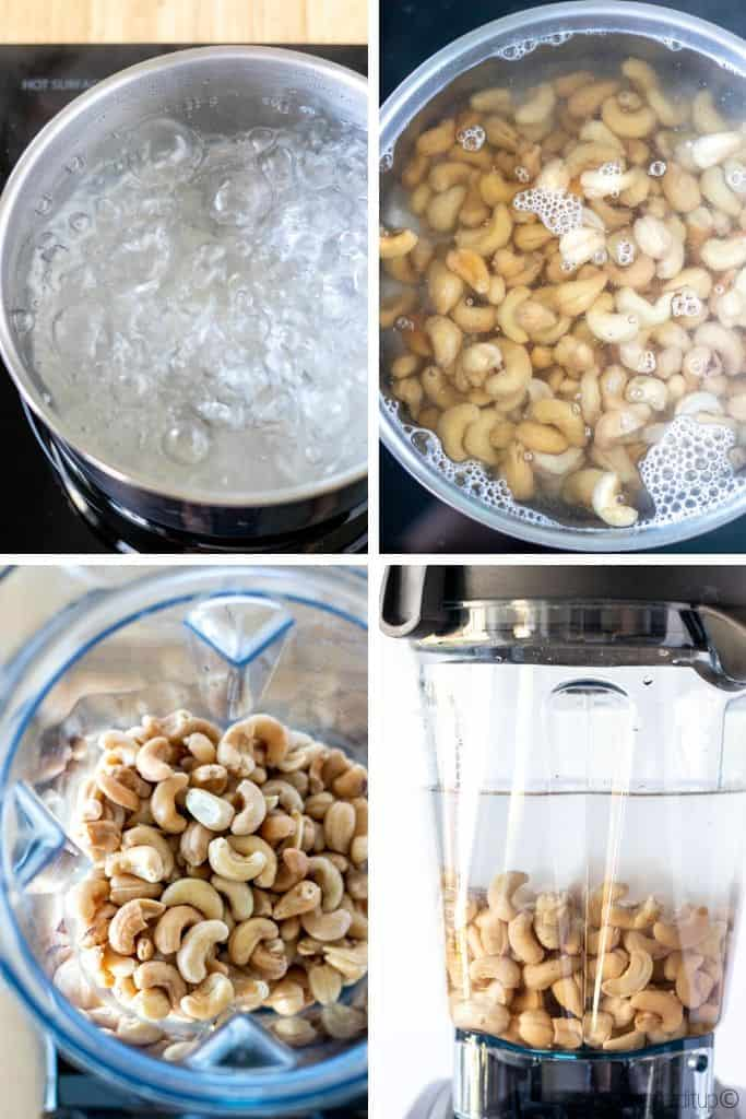 a grid of four photos showing boiling water, cashews soaking, rinsed cashews in a blender, and cashews and filtered water in the blender ready to be blended.