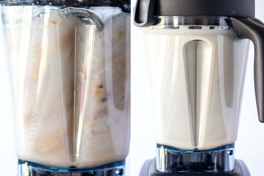 a grid of two photos showing the cashews being blended and the completed cashew milk in the blender