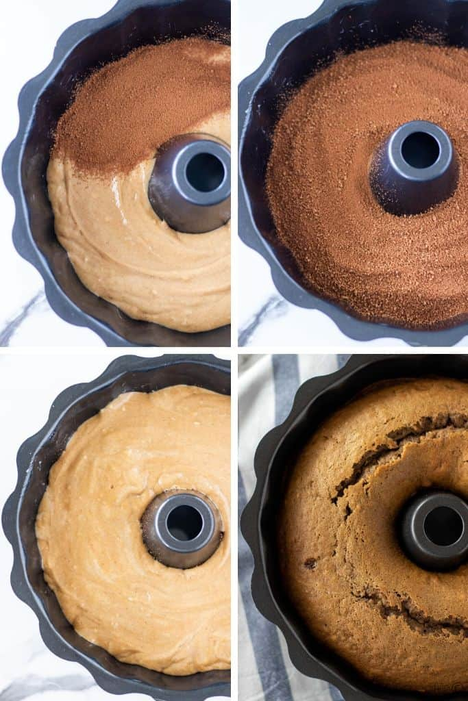 a grid of four photos showing the brown sugar chocolate filling around the bundt pan