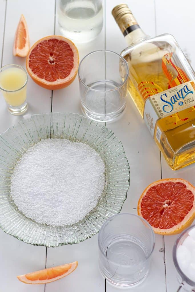 all of the ingredients to make the blended grapefruit palomas