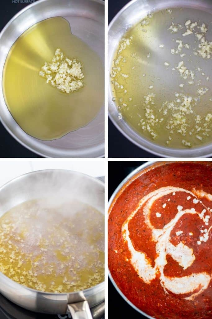 a grid of 4 photos showing the garlic being cooked, rose wine being reduced, and cream being added to the finished sauce