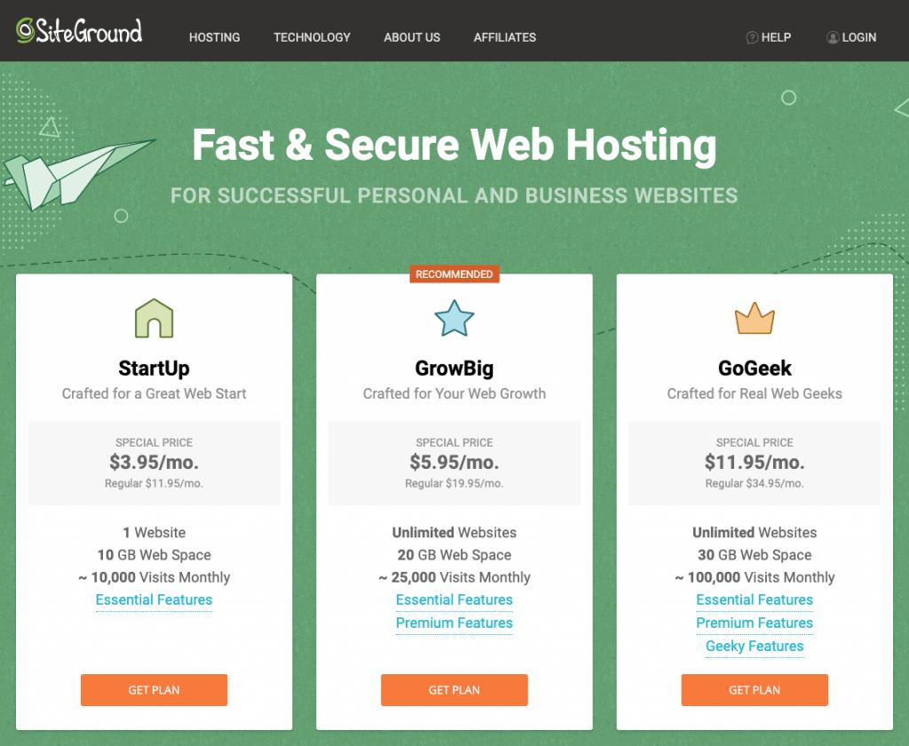 step one of siteground's hosting platform; choosing a plan