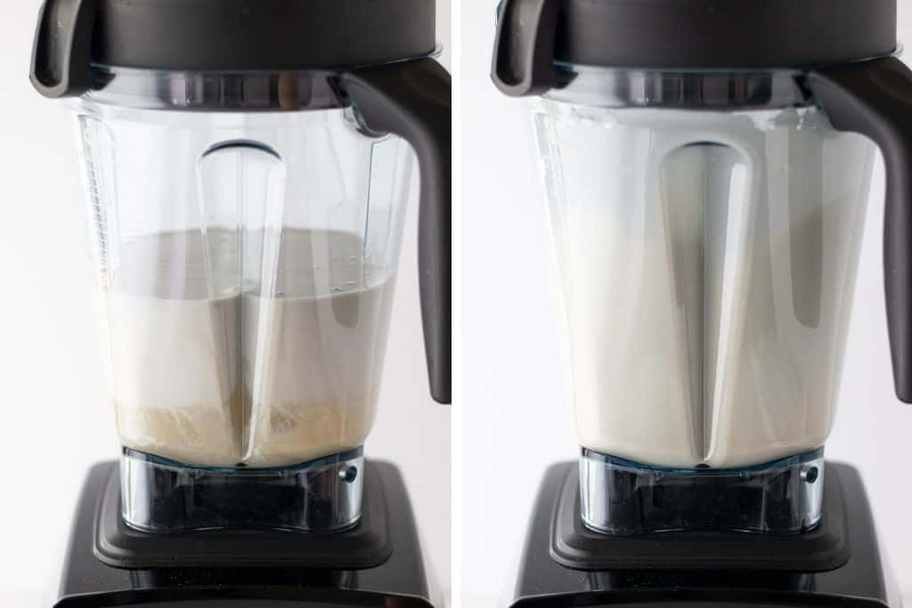 a grid of two photos showing the ice cream mixture being blended up
