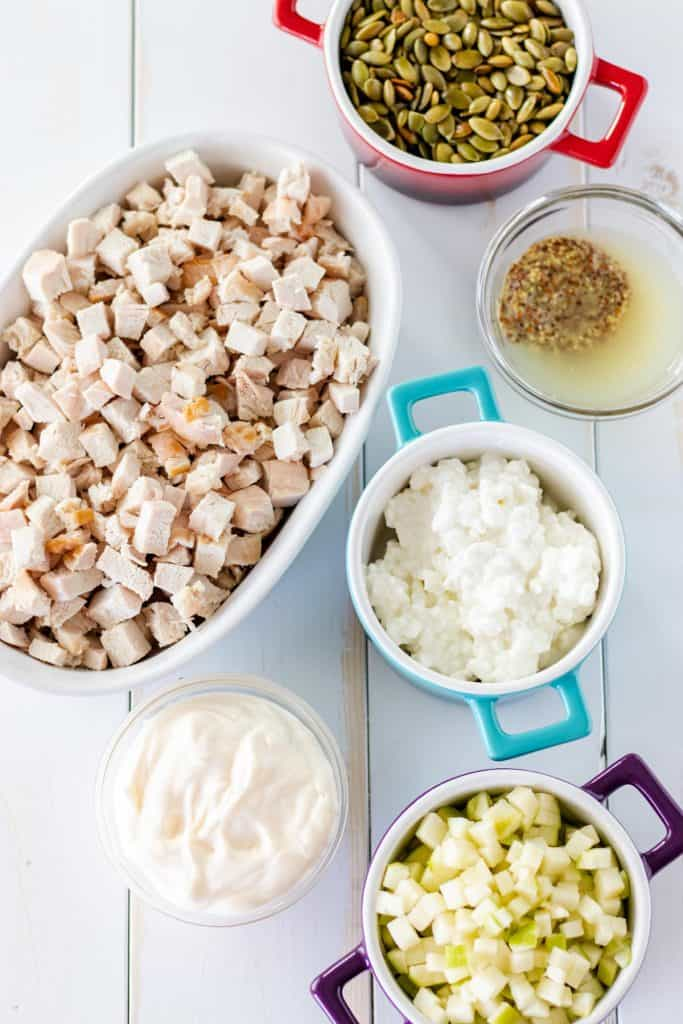 All of the ingredients to make chicken salad