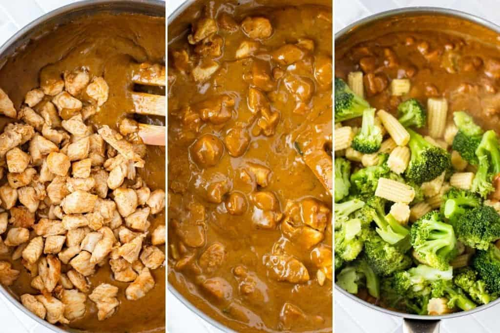 A grid of 3 photos showing adding the cooked chicken into the peanut satay sauce, stirring the chicken into the sauce, and adding the broccoli and corn into the chicken peanut satay