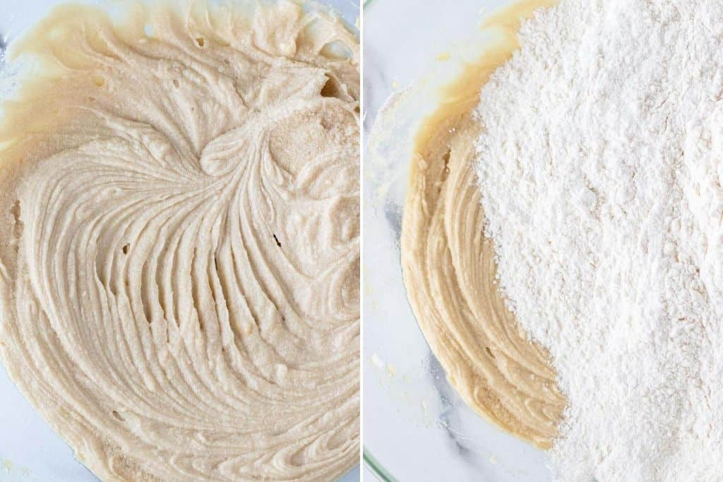 a grid showing the cookie batter whipped up and adding the dry ingredients to the batter